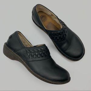 UGG Anila Black Fur Leather Clogs Sz 9